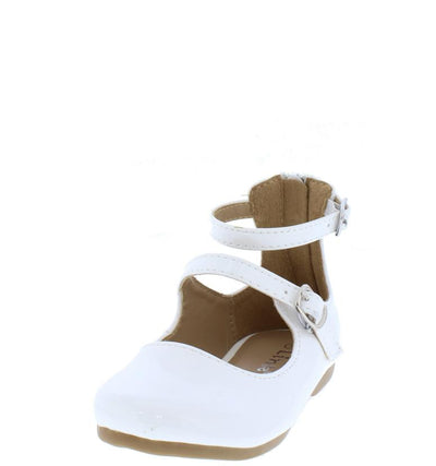 Cutey36k White Kids Double Strap Maryjane Patent Flat - Wholesale Fashion Shoes