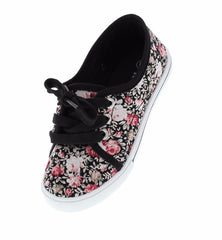 CUTIE32K BLACK ROSE FLORAL KIDS FLAT - Wholesale Fashion Shoes