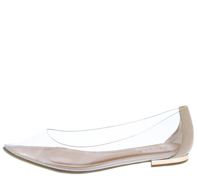 Cynic09m Nude Clear Lucite Pointed Toe Ballet Flat - Wholesale Fashion Shoes
