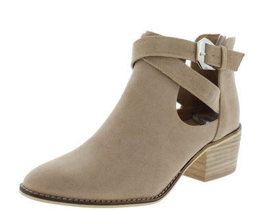 Cyrus01 Taupe Cut Out Cross Buckle Strap Ankle Boot - Wholesale Fashion Shoes