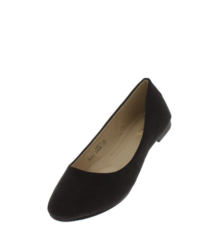 DANA12 BLACK FAUX SUEDE FLAT - Wholesale Fashion Shoes