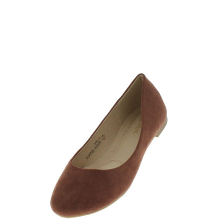 Dana12 Coffee Faux Suede Flat - Wholesale Fashion Shoes