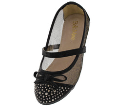 DANA9K BLACK MESH STUDDED KIDS FLAT - Wholesale Fashion Shoes