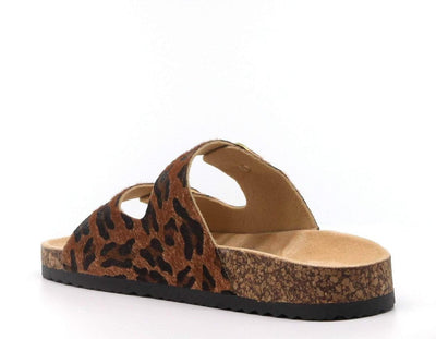 Danger Leopard Dual Buckle Strap Open Toe Slide Sandal - Wholesale Fashion Shoes