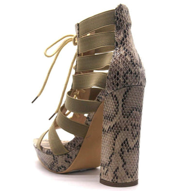 Darla Nude Caged Pointed Open Toe Lace Up Block Heel - Wholesale Fashion Shoes