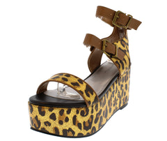DASHIA12 GOLD BROWN LEOPARD PLATFORM WEDGE - Wholesale Fashion Shoes