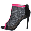 Dashing25 Black Piped Mesh Open Toe Rear Zip Stiletto Heel - Wholesale Fashion Shoes