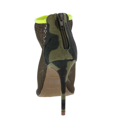 Dashing25 Green Camouflage Piped Mesh Open Toe Rear Zip Stiletto Heel - Wholesale Fashion Shoes