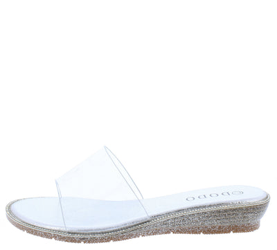 Dd225 Silver Lucite Open Toe Mule Slide Sparkle Wedge - Wholesale Fashion Shoes