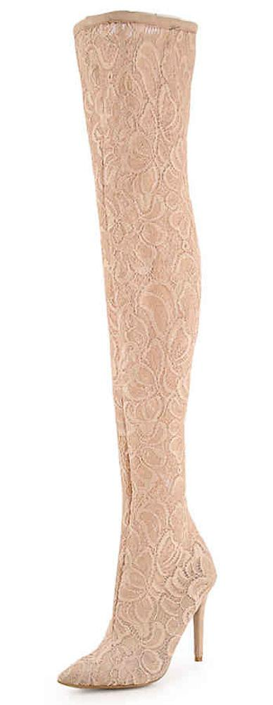 Dedicate22s Nude Lace Thigh High Stiletto Boot - Wholesale Fashion Shoes