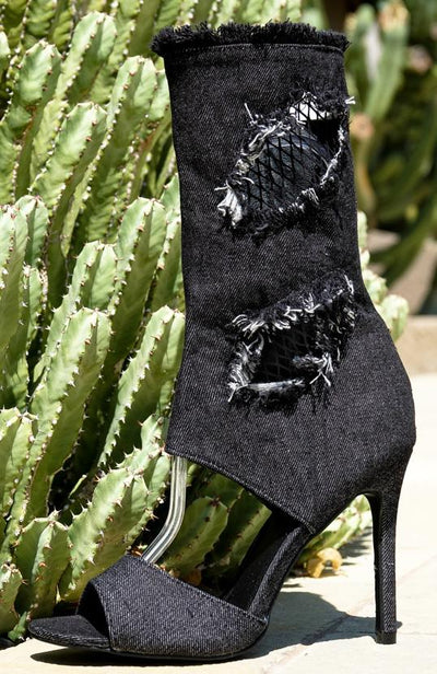 Delicate12 Black Distressed Frayed Peep Toe Boot - Wholesale Fashion Shoes