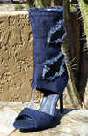 Delicate12 Dark Blue Distressed Frayed Peep Toe Boot - Wholesale Fashion Shoes