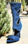 Delicate12 Light Blue Distressed Frayed Peep Toe Boot - Wholesale Fashion Shoes