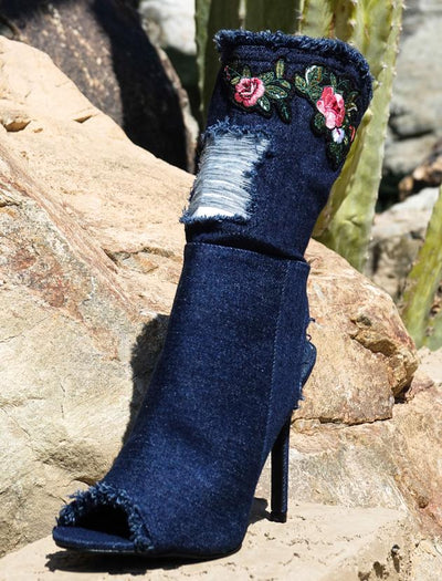 Delicate14 Dark Blue Frayed Flower Patch Heel - Wholesale Fashion Shoes