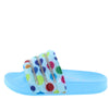 Delma7k Blue Rhinestone Polka Dot Slide Kids Sandal - Wholesale Fashion Shoes
