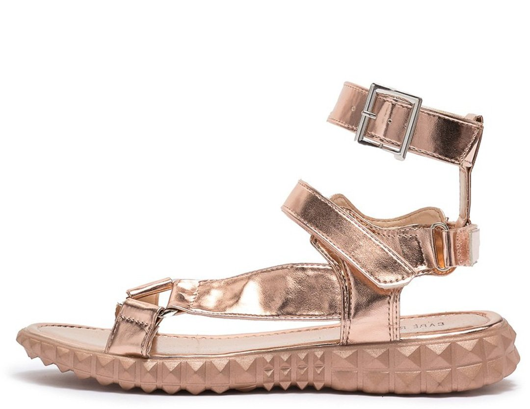 Double Ankle Strap Toe Demigod Sandal Textured Rose Gold Open ZkwNO8n0PX