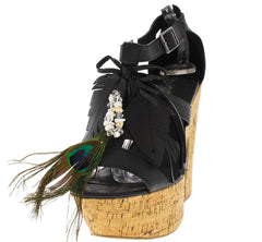 DENDA2 BLACK FEATHER CORK PLATFORM HEEL - Wholesale Fashion Shoes