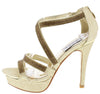 Sonia224 Gold Rhinestone Strappy Open Toe Platform Heel - Wholesale Fashion Shoes
