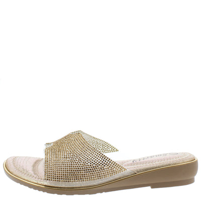 DJ18 Gold Sparkle Notch Open Toe Mule Slide Sandal - Wholesale Fashion Shoes