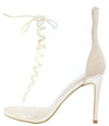 Whitley9 Nude Peep Toe Lace Up Lucite Boot - Wholesale Fashion Shoes