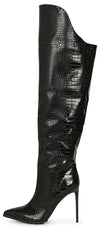 Brandi273 Black Croc Pointed Toe Over The Knee Boot - Wholesale Fashion Shoes