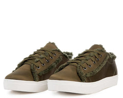 TAYLOR205 OLIVE DISTRESSED SATIN LACE-UP SNEAKER FLAT - Wholesale Fashion Shoes
