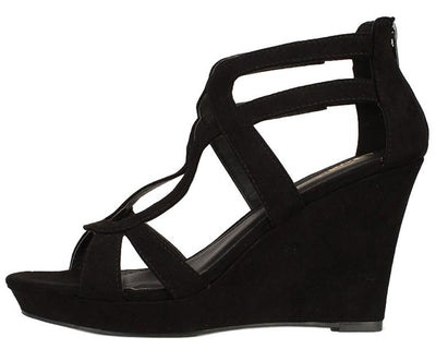 Domino Black Suede Women's Wedge - Wholesale Fashion Shoes