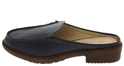Dopey4 Navy Pu Mule Loafer Flat - Wholesale Fashion Shoes
