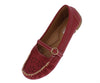 Dora19 Red Top Stitch Laser Cut Mary Jane Loafer Flat - Wholesale Fashion Shoes