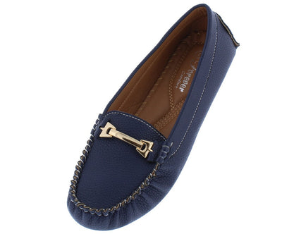Dot15 Blue Top Stitch Gold Hardware Loafer Flat - Wholesale Fashion Shoes