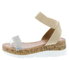 Double103 Beige Open Toe Ankle Strap Cork Lug Wedge - Wholesale Fashion Shoes