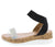 Double103 Black Open Toe Ankle Strap Cork Lug Wedge