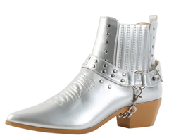 DOVE1 SILVER SILVER STUDDED CHAIN POINTED TOE ANKLE BOOT - Wholesale Fashion Shoes