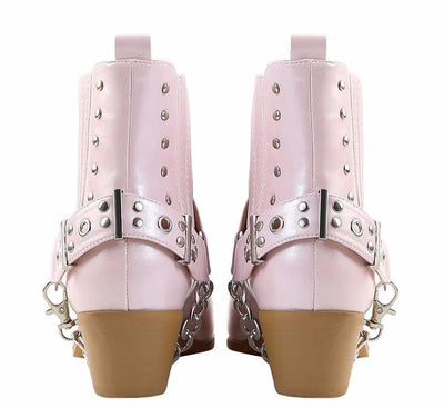 Dove1 Lavender Silver Studded Chain Pointed Toe Ankle Boot - Wholesale Fashion Shoes