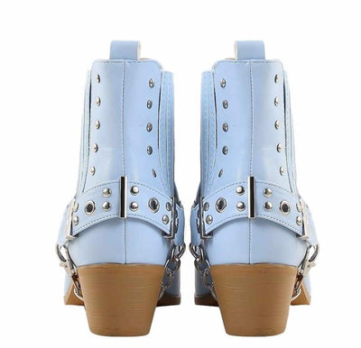 Dove1 Light Blue Silver Studded Chain Pointed Toe Ankle Boot - Wholesale Fashion Shoes
