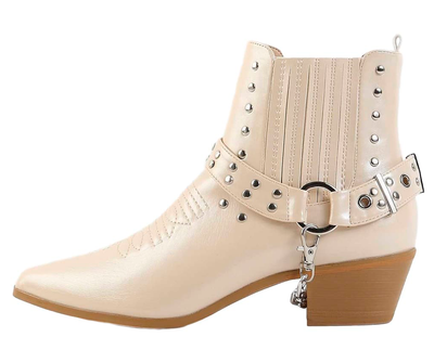 Dove1 Nude Silver Studded Chain Pointed Toe Ankle Boot - Wholesale Fashion Shoes