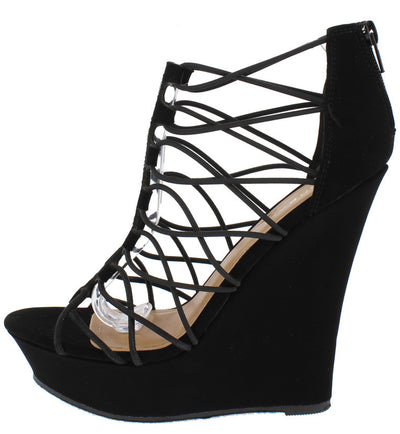 Dreamer48v Black Strappy Open Toe Platform Narrow Wedge - Wholesale Fashion Shoes