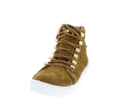Sam2 Tan Lace Up Gold Embellished Sneaker Flat - Wholesale Fashion Shoes
