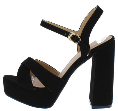 Dada1 Black Nubuck Cross Strap Open Toe Platform Heel - Wholesale Fashion Shoes