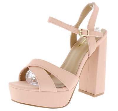 Dada1 Blush Nubuck Cross Strap Open Toe Platform Heel - Wholesale Fashion Shoes