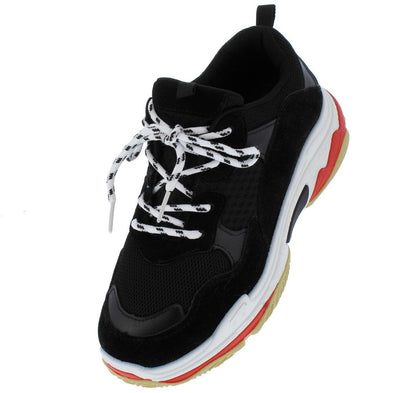 Daddy6 Black Multi Round Toe Lace Up Sneaker Flat - Wholesale Fashion Shoes