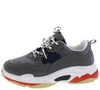 Daddy6 Navy Grey Multi Round Toe Lace Up Sneaker Flat - Wholesale Fashion Shoes