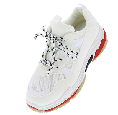 Daddy6 White Multi Round Toe Lace Up Sneaker Flat - Wholesale Fashion Shoes