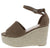 Daelyn1 Taupe Open Toe Ankle Strap Espadrille Wedge