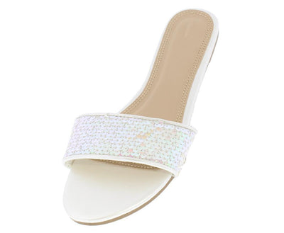Mia194 White Sequin Sparkle Slide on Wide Band Sandal - Wholesale Fashion Shoes