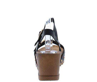 Dainty43 Black Heart Punch Open Toe Ankle Strap Wedge - Wholesale Fashion Shoes