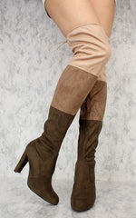 DAISY22 OLIVE MULI COLOR BLOCK OVER THE KNEE BOOT - Wholesale Fashion Shoes