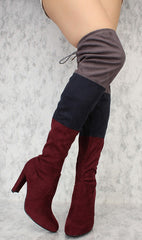DAISY22 BORDEAUX MULI COLOR BLOCK OVER THE KNEE BOOT - Wholesale Fashion Shoes