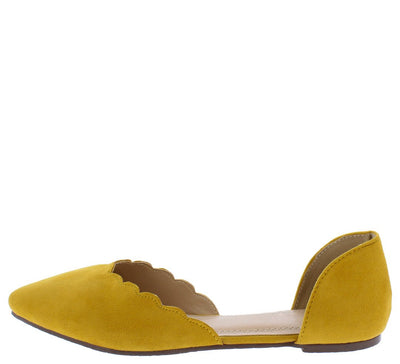 Aria098 Yellow Scalloped Pointed Toe Dorsay Flat - Wholesale Fashion Shoes