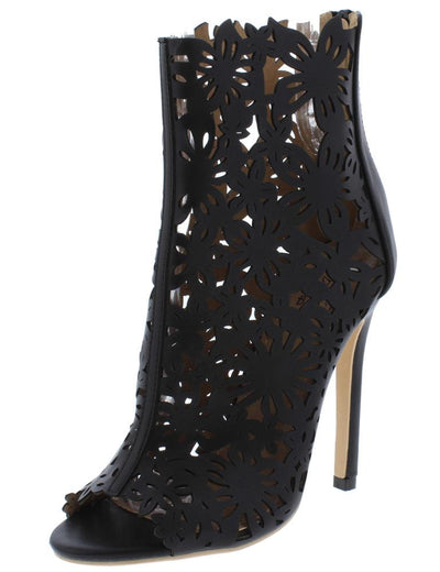Dalia01 Black Floral Caged Stiletto Ankle Boot - Wholesale Fashion Shoes